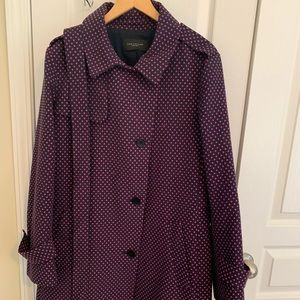 Ann Taylor trench navy with pink polka dots XXL